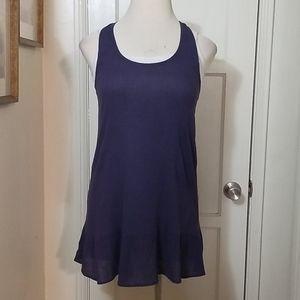 LILLA P muted blue crape racerback tank dress